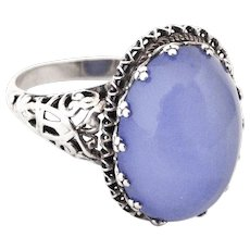 Vintage filigree Sterling silver ring with blue chalcedony