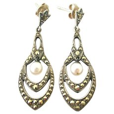Art deco sterling silver marcasite and pearl earrings