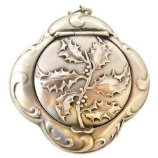 Antique French art nouveau 800-900 silver compact box locket, holly design by Prudent Quitte