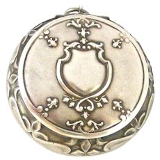 Antique French 800-900 silver compact locket by Prudent Quitte