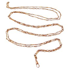 French FIX art nouveau rose gold filled lorgnette chain 63 inches long