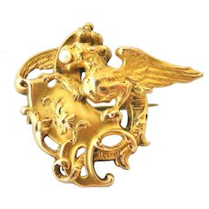 French art nouveau FIX gold fill griffin or chimera brooch