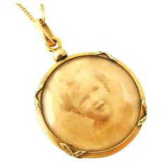 French antique FIX gold fill locket and chain