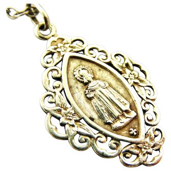 French 800-900 silver religious medal Jesus Infant of Prague