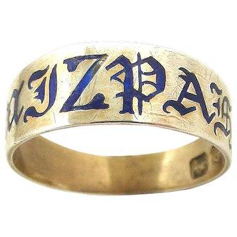 Rare Victorian sterling silver enamel MIZPAH ring