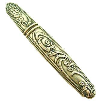 French art nouveau 800-900 silver repousse needle case, iris flowers