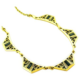 French FIX 18k gold fill art deco necklace with sapphire paste
