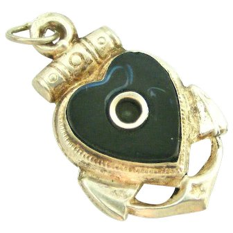 Antique French heart and anchor stanhope fob souvenir of Lourdes