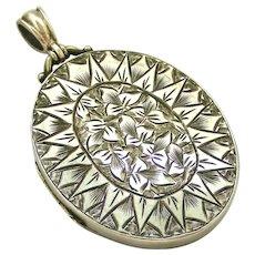 Victorian sterling silver ivy locket