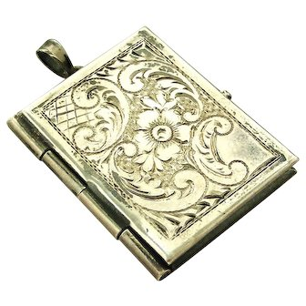 Vintage Austrian 900 silver book locket with hand engraving