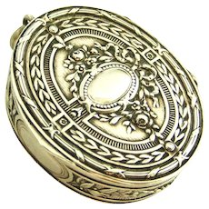 Antique 800 silver embossed pill or snuff box locket