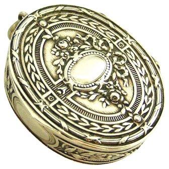 Antique 800 silver embossed pill/snuff box locket