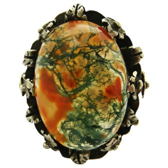 Arts and Crafts sterling silver ring moss agate, leaves and flowers
