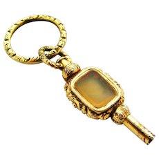 Georgian gilt pinchbeck rock crystal and agate watch key fob