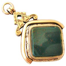 Antique rose gold fill spinner watch fob , carnelian and bloodstone