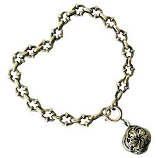 Antique French 800-900 silver bracelet with fob charm