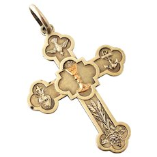 French antique 800-900 silver pectoral cross with rose gold chalice
