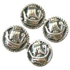 Sterling silver Viking ship cufflinks