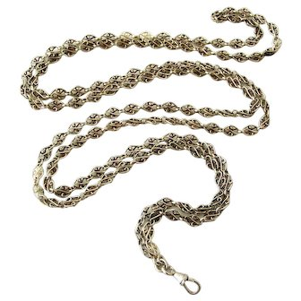 Antique French 800-900 silver knot long guard lorgnette chain