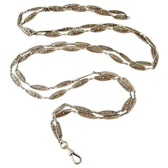 FRench antique 800-900 silver filigree guard chain for lorgnette or muff