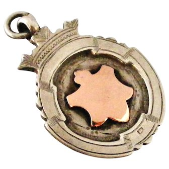 Heavy English art deco Sterling silver and rose gold watch fob