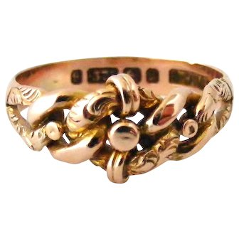 Beautiful antique keeper ring 9k rose gold lovers knot