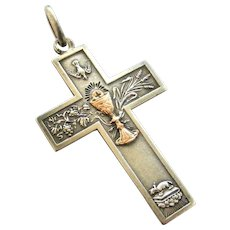 French antique silver cross with rose gold chalice 1886