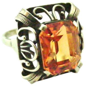 Wonderful 835 silver art deco jugendstil ring with cinnamon topaz paste
