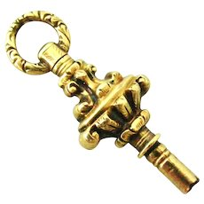 Pretty gold filled Georgian watch key pendant or charm