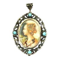 Antique Continental 800 silver pendant or locket brooch hand painted portrait
