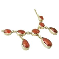 English vintage sterling silver carnelian festoon necklace arts and crafts style
