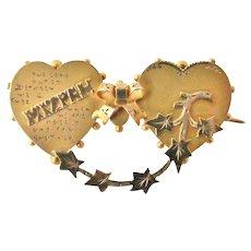 English antique 9k gold sentimental MIZPAH brooch