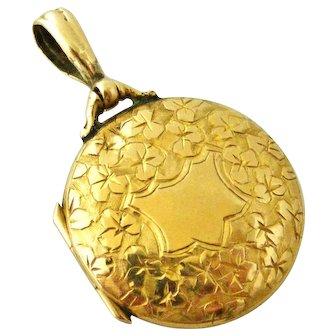 Edwardian 9k gold locket engraved clover 1905
