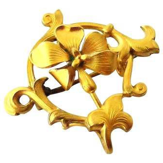 French antique art nouveau FIX 18k gold filled flower brooch
