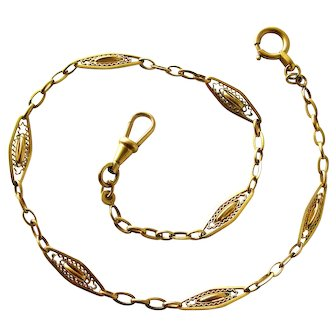 Antique French gold filled watch chain by Oria