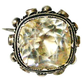Antique cushion cut paste lace pin in sterling silver , extra large stone
