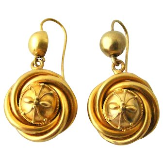 Victorian Etruscan earrings in 9k gold with 18k wash