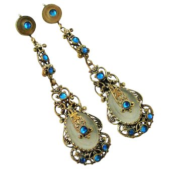 Stunning Czechoslovakian Camphor glass,  paste and filigree earrings Neiger brothers.