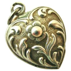 French antique art nouveau puffy heart charm