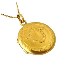 French art nouveau FIX gold fill locket and chain