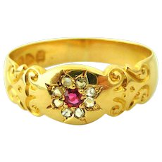 Antique Victorian 18k gold gypsy band ring, ruby and diamond flower