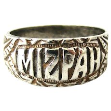 Antique Edwardian sterling silver Mizpah ring size 10