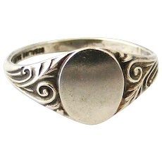 Art deco sterling silver oval signet ring size 12