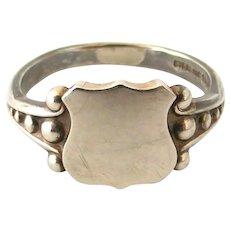 Vintage art deco sterling silver shield signet ring
