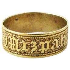 Victorian antique silver gilt MIZPAH ring