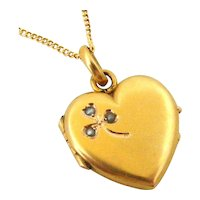 French FIX gold filled heart locket with seed pearls