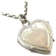 Sweet little French 800-900 silver heart locket and chain