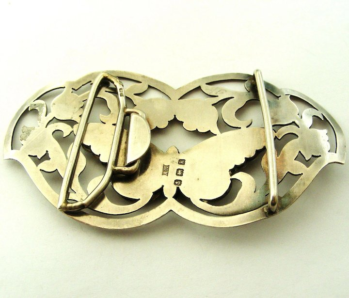 Antique English Art Nouveau 1907 Sterling Silver Enamel Sash Buckle Fine