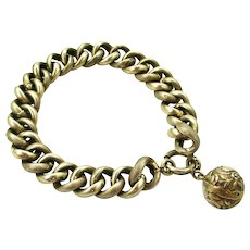 French antique 800-900 silver curb bracelet with ball fob 8 inches.