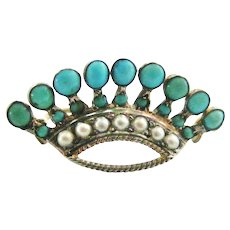 French natural turquoise and white split pearl crown brooch in 800 silver